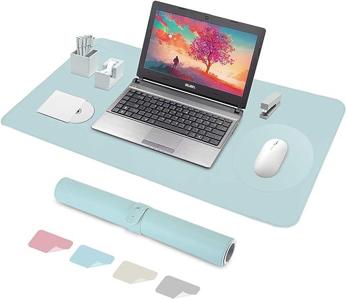 Aeccn Tischunterlage Schreibtischunterlage Mauspad 60 X 35cm Pu Leder Tischunterlage Laptop Tischunterlage Wasserdichte Schreibunterlage Ideal Für Büro Und Zuhause Doppelseitig Blau Bürobedarf Schreibwaren