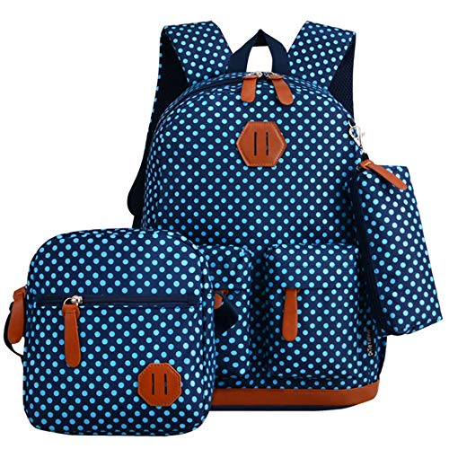 MAODATOU Canvas Laptop Backpack Set Polka Dot Casual 3 in 1 Girls Backpack Sets Pack of 3 Pcs Students Backpack Bookbag School Bags Canvas School Backpack 3Pcs (Color : Dark Blue)