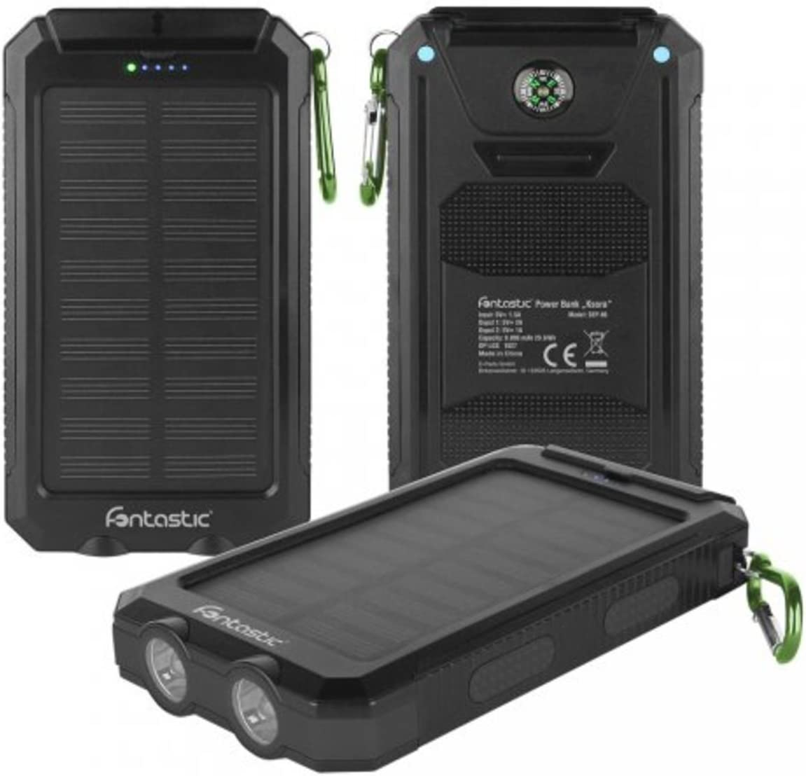 Fontastic Solar Power Bank 8000/mAh Ksora 8.0/Black 2/x USB//LED Light//Carabiner Hook Compass 217661