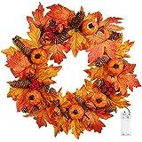 Valdler 22 Inch LED Winter Front Door Decorative Wreath with Maple Leaf,Pumpkin, Pinecone,Red Berries Garland