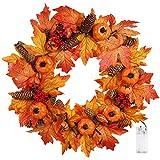 front door color ideas Valdler 22 Inch LED Winter Front Door Decorative Wreath with Maple Leaf,Pumpkin, Pinecone,Red Berries Garland