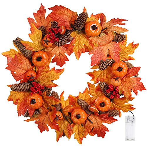 - Valdler 22 Inch LED Winter Front Door Decorative Wreath with Maple Leaf,Pumpkin, Pinecone,Red Berries Garland