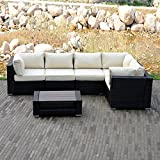 Sliverylake Outdoor Patio Sofa Set Sectional Furniture PE Wicker Rattan Deck Couch - 5 Place Table Wood Top