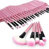EFKS 32Pcs Set de brochas cosméticos kit de pinceles cepillos para maquillaje profesional 32 Piece Makeup Brush+Bolsa funda, Rosado