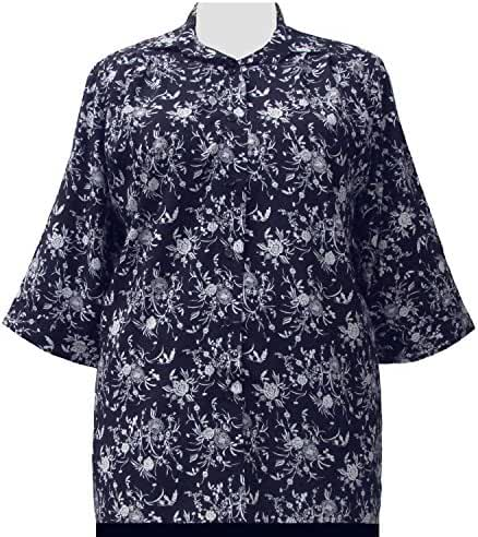 Navy & White Wildflowers 3/4 Sleeve Tunic Plus Size Woman's Blouse