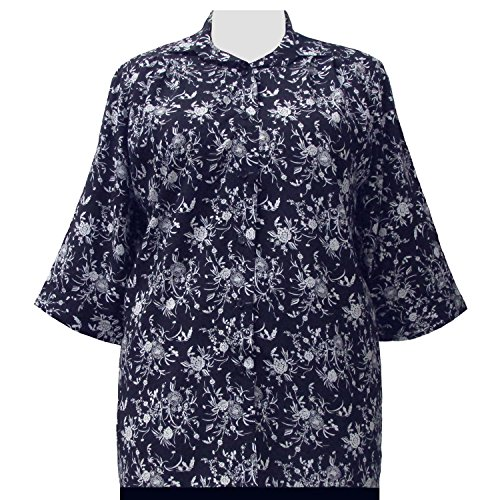 A Personal Touch Women's Plus Size Navy & White Wildflowers 3/4 Sleeve Button-Down Blouse - 0X