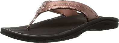OLUKAI Ohana Womens Flip Flops Rose Gold/Black - 8