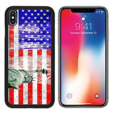 MSD Premium Apple iPhone X Aluminum Backplate Bumper Snap Case IMAGE ID: 13791774 Independence Day 4th of July with american flag and statue of liberty