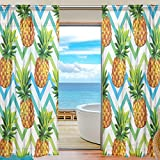 SEULIFE Window Sheer Curtain, Tropical Summer Pineapple Chevron Voile Curtain Drapes for Door Kitchen Living Room Bedroom 55x78 inches 2 Panels