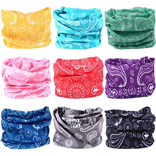 VANCROWN Headwear Wide Headbands Scarf Head Wrap Mask Neck Warmer (9PC.Paisley Series.1)