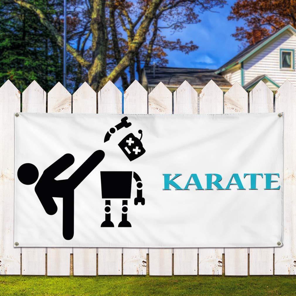 Set of 2 Multiple Sizes Available Vinyl Banner Sign Karate #1 Style D Lifestyle Karate Outdoor Marketing Advertising White 28inx70in 4 Grommets