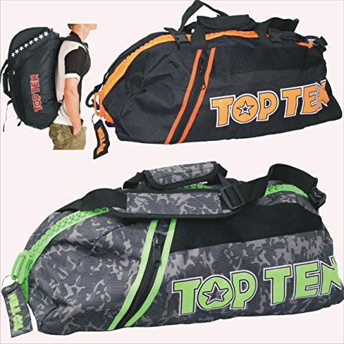 """TOP TEN Rucksack - Tasche CAMOUFLAGE grau grün GG """"L""""Large 8002-1505"""