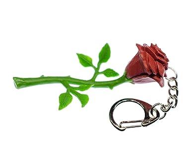 Miniblings Rosa roja Llavero Flores jardín de Flores de Goma ...