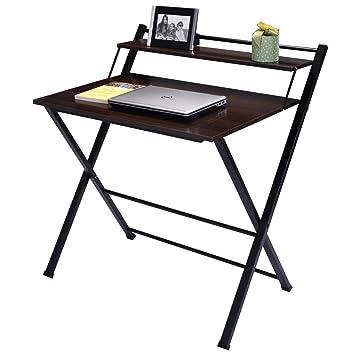 Amazoncom Wakrays 2Tier Folding Computer Desk Home Office