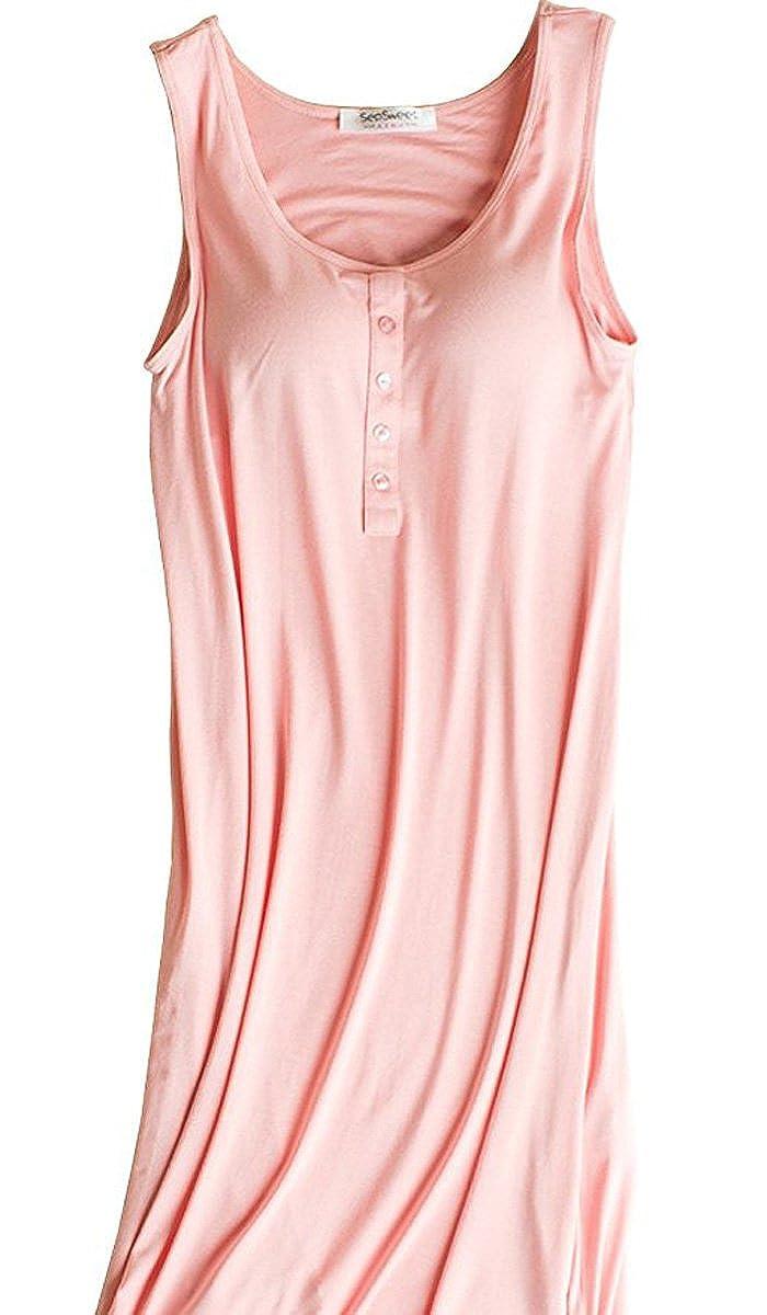 Hiwil Womens Modal Padded Bra Sleepwear Chemise Nightgown Full Slip Lounge Dress HWATK0031