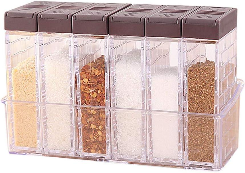 Nuosen - Juego de 6 saleros y pimenteros para especias, caja de plástico para condimentos de camping para almacenamiento de condimentos de cocina