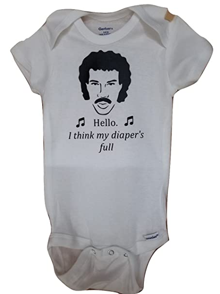 514fe08bb Amazon.com: Mari Kyrios Creations Lionel The Voice Richie Parody Hello  Onesie Funny Baby Clothes Jumpsuit Comedy Bodysuit: Clothing