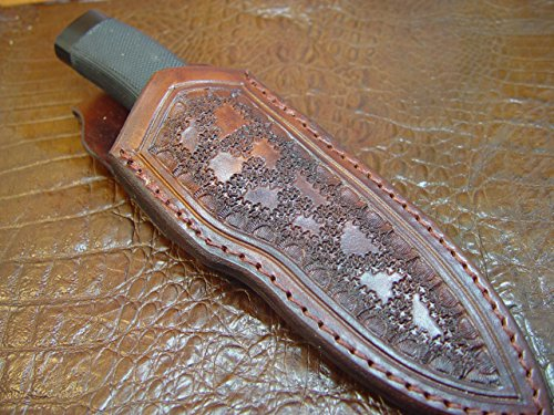 Custom Leather Knife Sheath That Fits a Buck 692 Vanguard or Zipper. Tooled and Dyed Dark Brown.