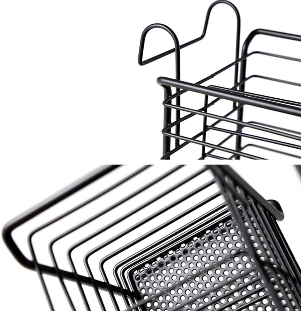 Yardwe Utensile Stendino Posate in Metallo Porta Cestello con Ganci Posate Bacchette Portaoggetti Organizzatore con Sgocciolatoio per Cucina Nero