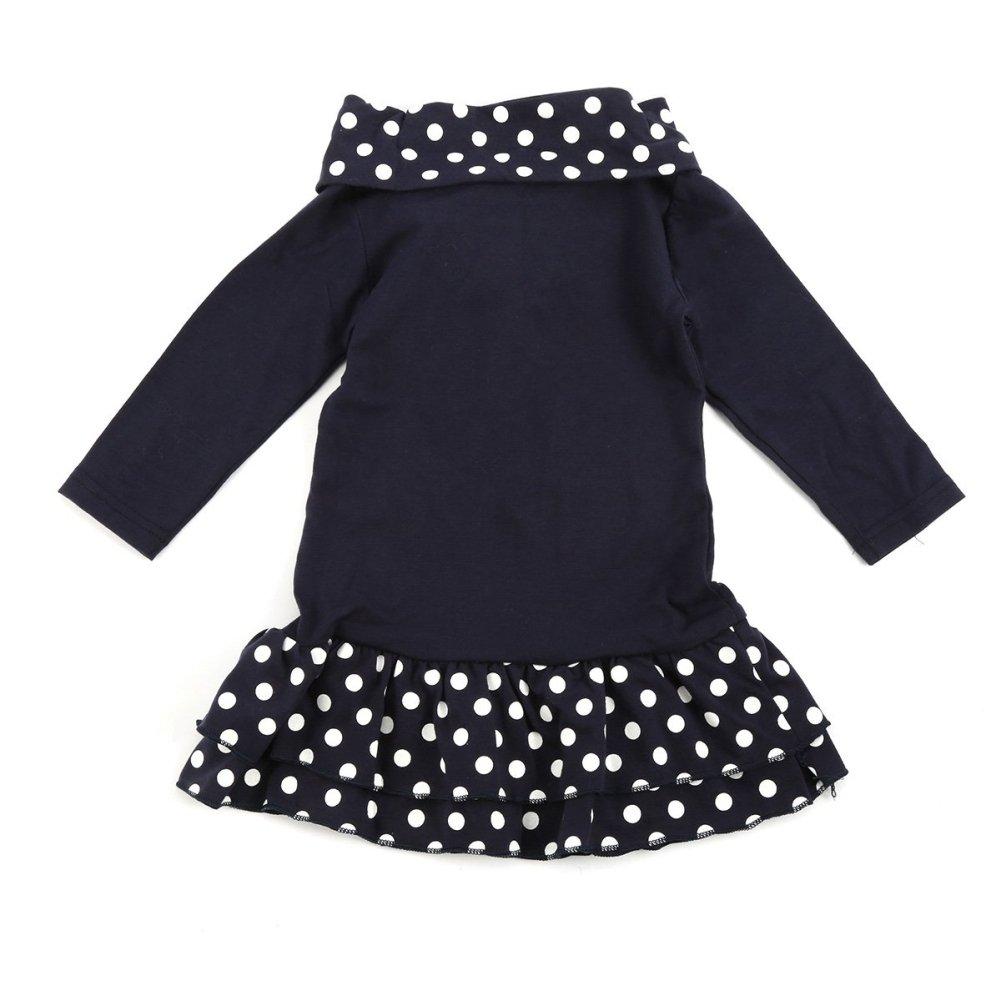 Cartoon Deer Baby Girls Dress Long Sleeve Polka Dot Kids Spring Mini Dress for 2-7 Years Old