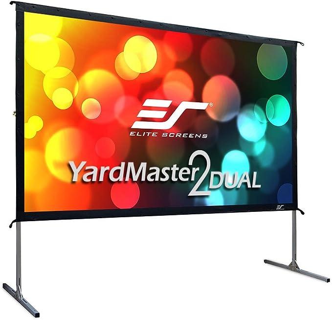 Elite Screens Yard Master 2 Dual Pantalla de proyección Aluminio, Negro, Blanco 2,54 m (100
