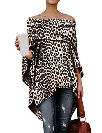 c2071297c06 Amazon.com: ZXZY Women Leopard Print Off Shoulder Asymmetric Smock Shirt  Loose Tops: Clothing