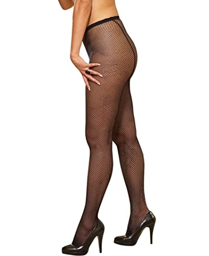 c15bb141cff12 Dreamgirl 0011X Women's Plus Size Fishnet Pantyhose With Back Seam - Plus  Size - Black