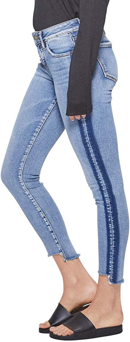 Silver Jeans Co. Women's Aiko Slightly Curvy Fit Mid Rise Ankle Skinny Jeans