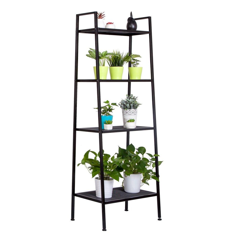 Teeker Multifunctional 4 Tiers Ladder Shelf, Vintage Bookshelf,Plant Stand Storage Rack Shelf for Office, Bathroom, Living Room (Black) by Teeker