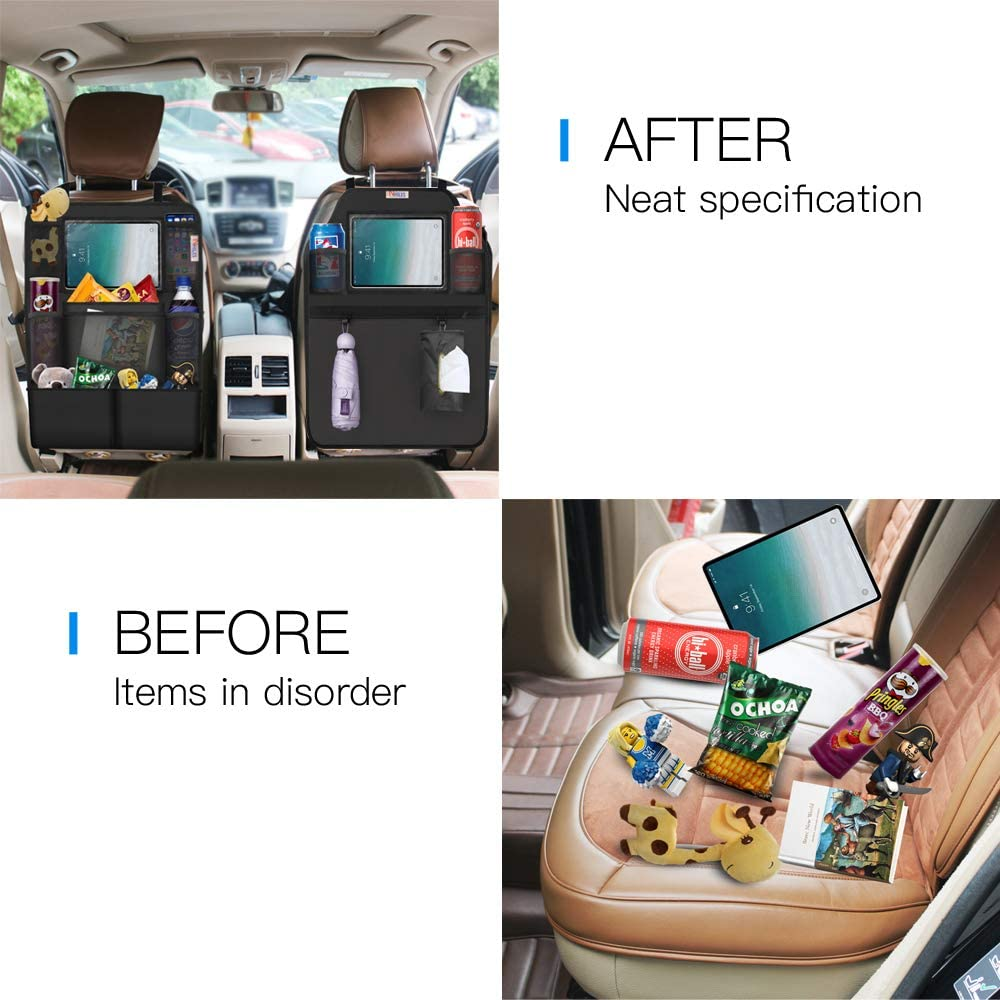 A+B with Touch Ipad Holder 8 Storage Bag and 17.7 NHILES Backseat Car Organizer Car Seat Protector 2 Type 12.4 inch Storage Bags with 1 Tissue Box 3 Storage Bag