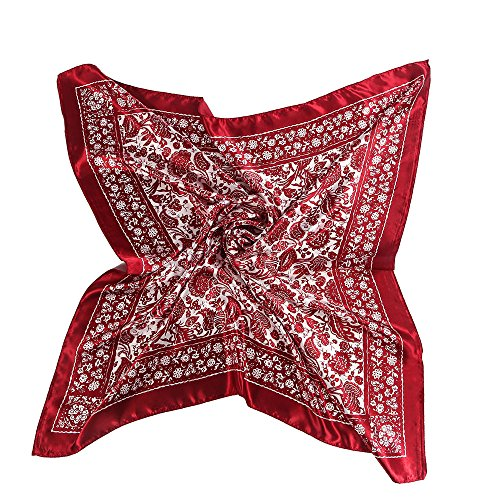 BEEYA Womens Vintage Flower Print Pattern Large Silk Scarf for Hair Square National Style Neckerchief Headscarf 35x35 Inches(RedWhite) ()