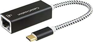 USB C Ethernet Adapter, CableCreation USB Type C to RJ45 Network LAN Adapter Up to 10/100/1000 Mbps, Ethernet for Windows, Mac, macOS X, Compatible with Galaxy S10, iPad Pro 2020, Aluminum