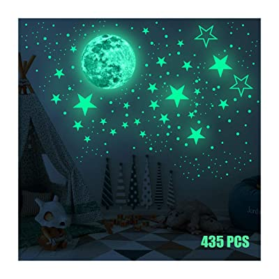 Sticker Round Dot Glow in The Dark Wall Stickers Luminous Fluorescent Stickers for Kids,435pcs Bright Stars and Full Moon Starry Sky Stickers Baby Room Bedroom Ceiling Home Decor: Baby