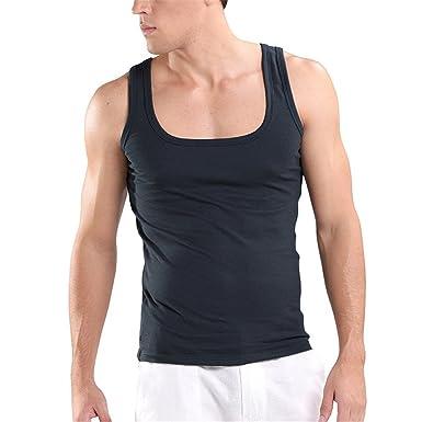 647bcd6189b2b MSMIRROR U Neck Sleeveless Undershirts Singlet Breathable Mens Vest Plus  Size Tank Top at Amazon Men s Clothing store
