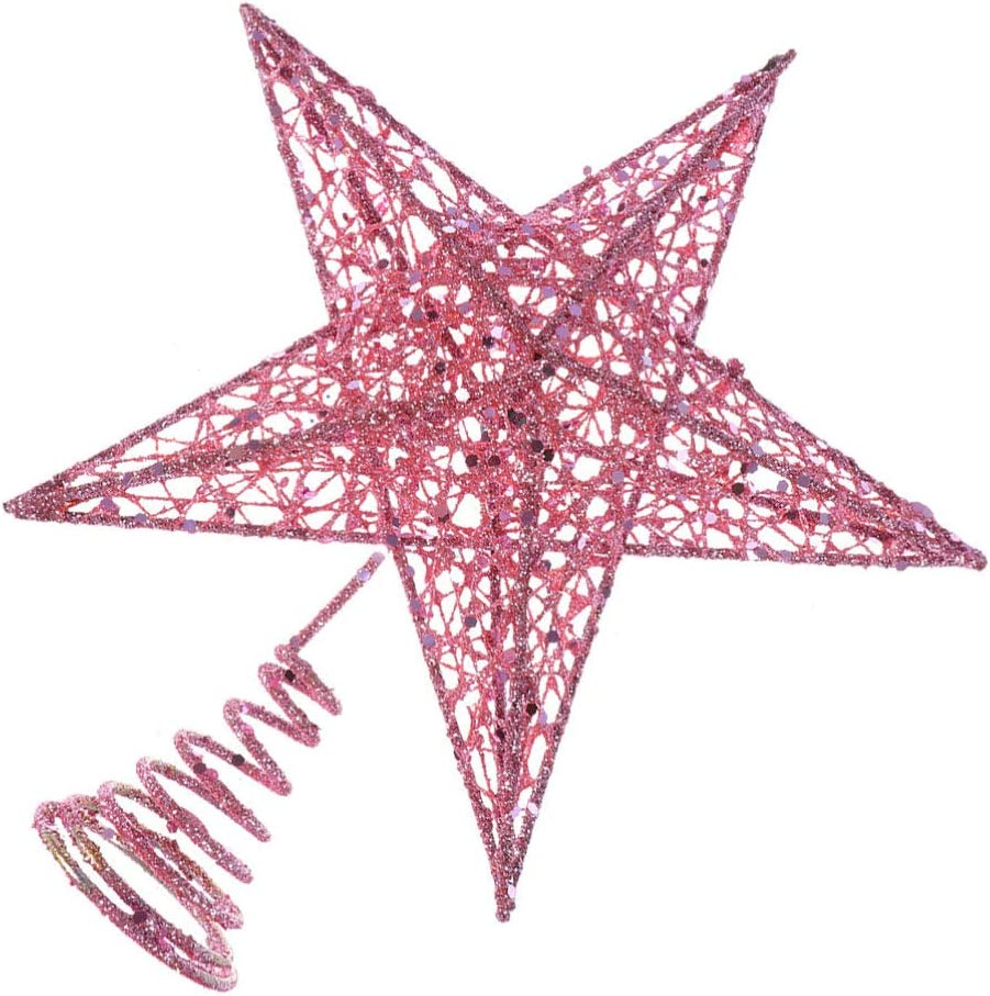 Dihope decoraci/ón elegante azul, 20 cm punta de /árbol de Navidad Estrella de /árbol de Navidad de hierro decoraci/ón de fiesta brillante para /árbol de Navidad dise/ño de estrella con purpurina
