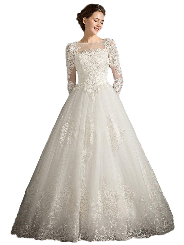 Snowskite Womens A-line High Neck Lace Wedding Dress