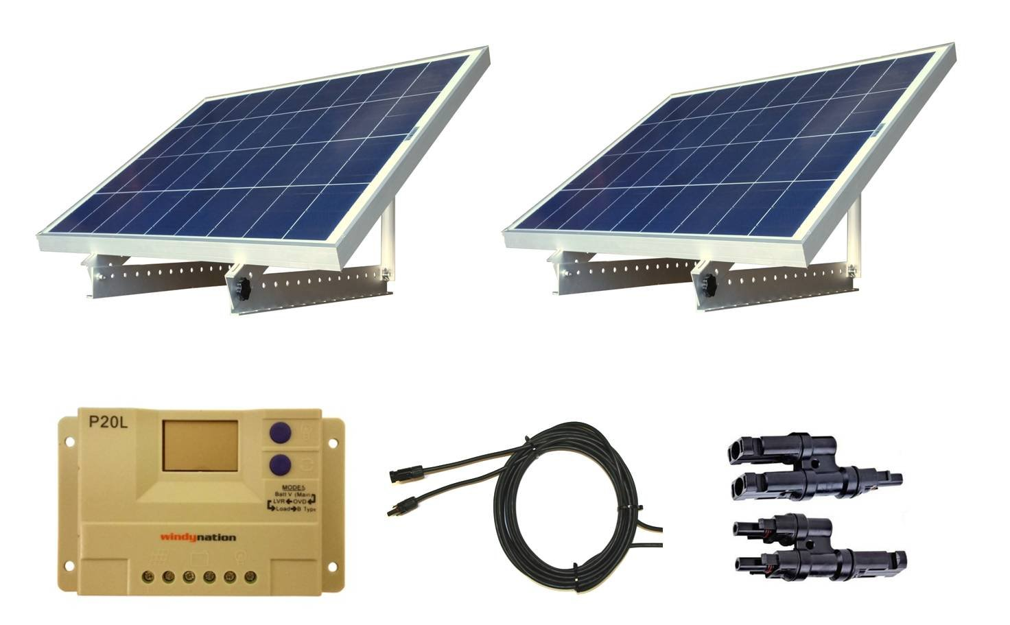 WindyNation 200 Watt 12V or 24V Solar Panel Kit w/Adjustable Solar Mount Rack and LCD Charge Controller RV, Cabin, Off-Grid Battery by WindyNation