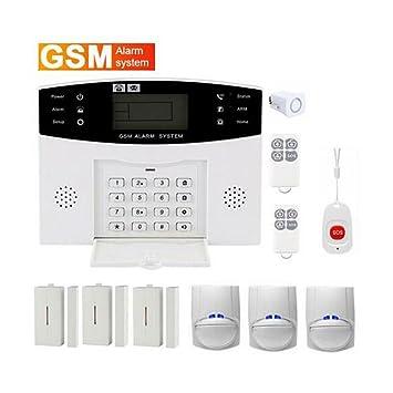 Dingcaiyi Sistema De Alarma gsm Inalámbrica Antirrobo Sistema De Seguridad Detector con Sensor De Movimiento para