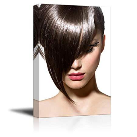 wall26 – Canvas Prints Wall Art – Fashion Haircut Hairstyle Stylish Fringe Modern Wall Decor Home Decoration Stretched Gallery Canvas Wrap Giclee Print. Ready to Hang – 32 x 48