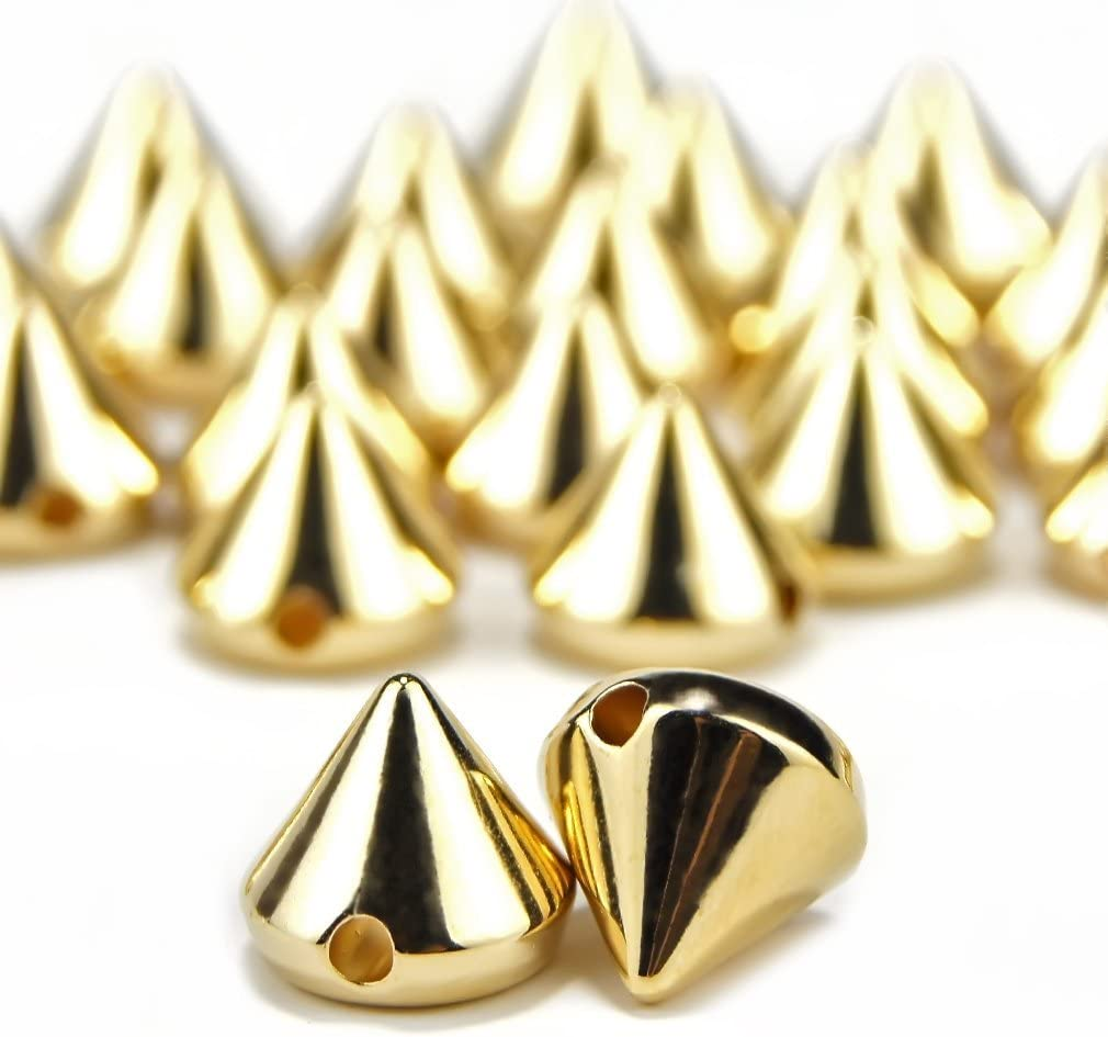 Sew on or Glue on Gold Honbay 100PCS Acrylic Punk Bullet Rivets Cone Spike Studs Beads