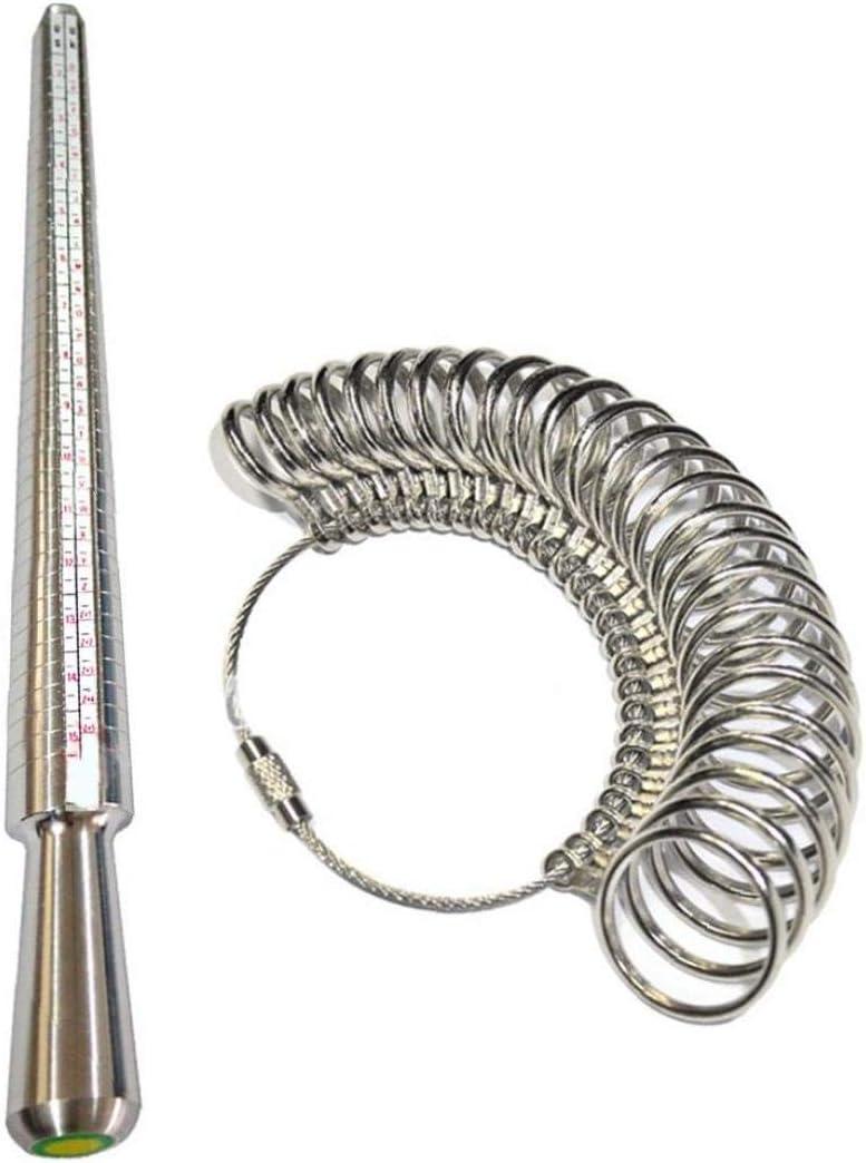 NaisiCore Medidor de Anillos Gauge Set Metal Inteligente Anillo de Dedo Medida Dimensionamiento de medición A-Z joyería Kit de Hombres de Las Mujeres