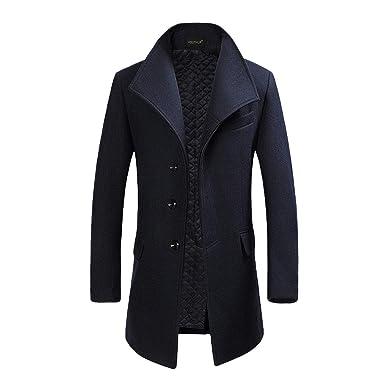 buy online 68666 2dcf9 YOUTHUP Cappotto Uomo Eleganti Trincea Cappotti di Lana Invernale Giacche  Lunghe Casual Slim Fit