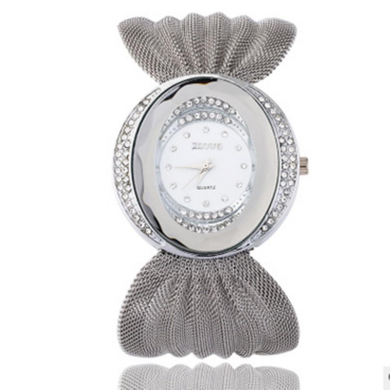 amassanファッションスタイルゴールデンシルバーNetチェーンレディース腕時計 シルバー  B07D54XJDX