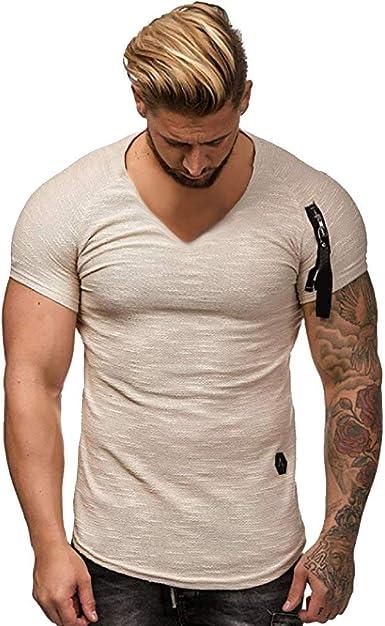 riou Camisetas Hombre Manga Corta Moda Suéter Camisero de Manga ...