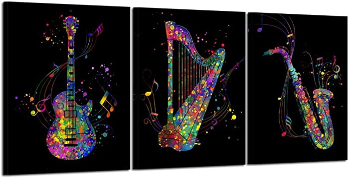 Kreative Arts 3 Piece Music Canvas Art Black Wall Decor Musical Instruments Canvas Prints with Frame for Bedroom Beutiful Music Notes Painting Electric Guitar Harp Sax Framed Posters Ready to Hang