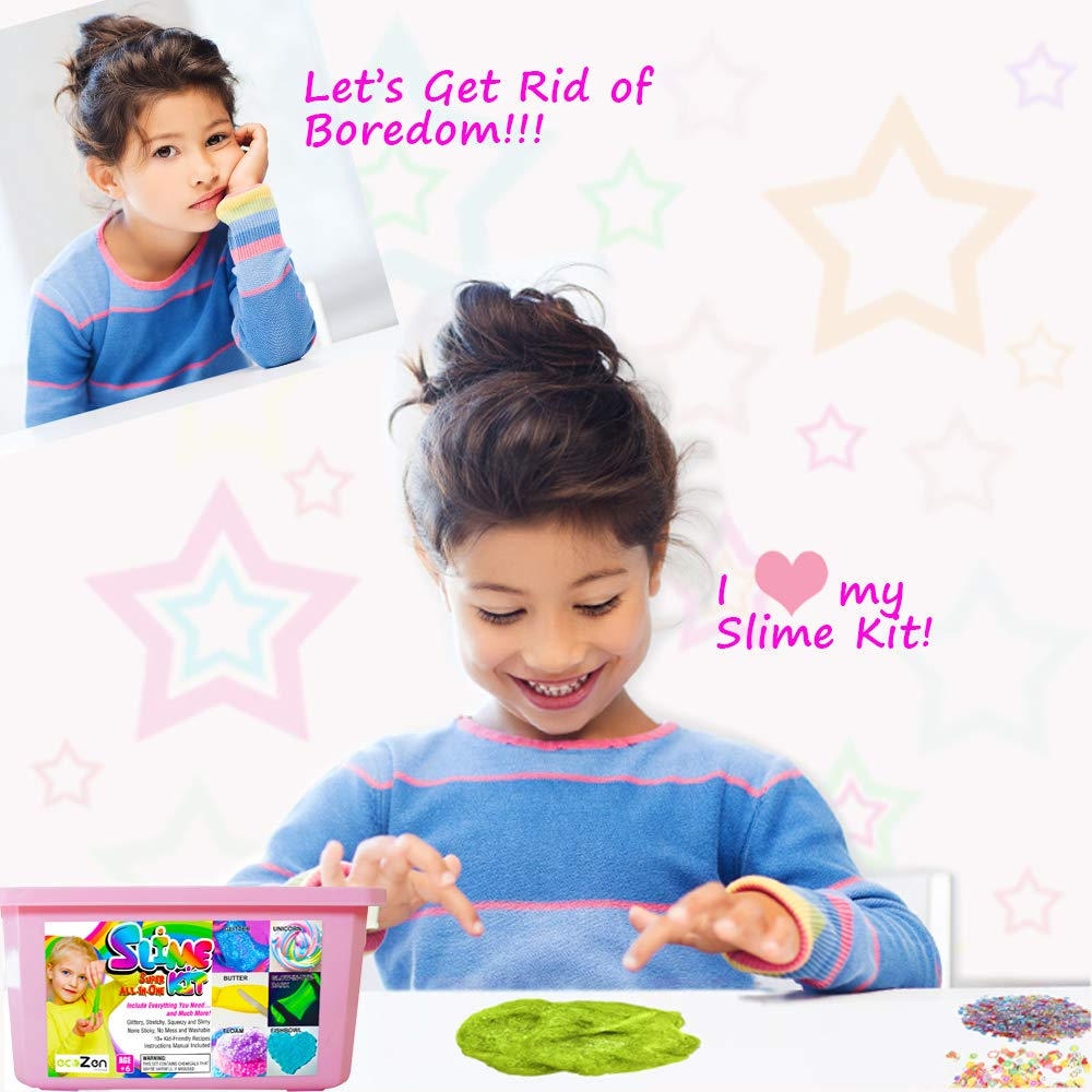 ecoZen Lifestyle Ultimate Slime Kit for Girls - Best Value Unicorn DIY Slime Supplies Kits for Making Tons of Various Fail-Proof Slimes - Perfect Birthday Toys Gifts for 7 8 9 10 11 12 Year Old Girls by ecoZen Lifestyle (Image #3)