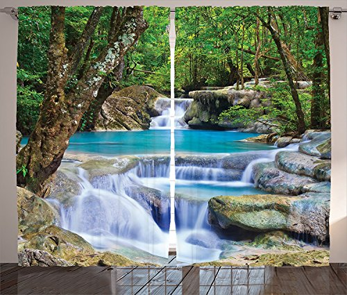 Birch Glass Waterfall (Waterfall Decor Curtains Fairy Image of Asian Waterfall by the Rocks in Forest Secret Paradise Window Drapes 2 Panel Set for Living Room Bedroom Green Blue)
