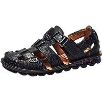Sandalias de Deporte de Verano para Hombre,ZARLLE Hombre Sandalias de Cuero Pisos Playa para Caminar Antideslizante Suave Parte Inferior Zapatos Casuales