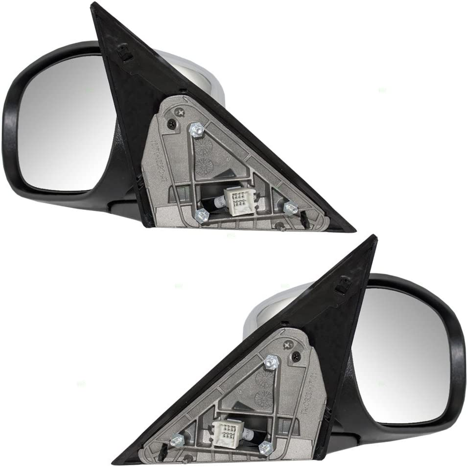 Driver and Passenger Power Side View Mirrors Heated with Chrome Covers Replacement for Chrysler Dodge 4806871AL 4805882AK