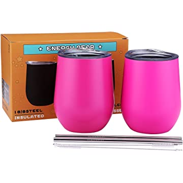 Wine Tumbler Stemless Vacuum Stainless Steel Cup 12oz Unbreakable Double Wall Insulation Glass Travel Cup with Lid Straw for Home Outdoor Coffee Champagne Beer Drinks (Rose Red 2Pack.)